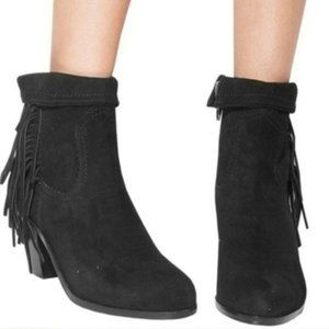 Sam Edelman Louie booties black suede fringe zip 9